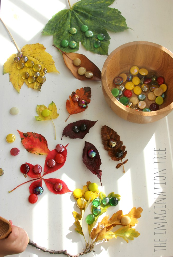 Coloured leaves and gems matching activity for kids